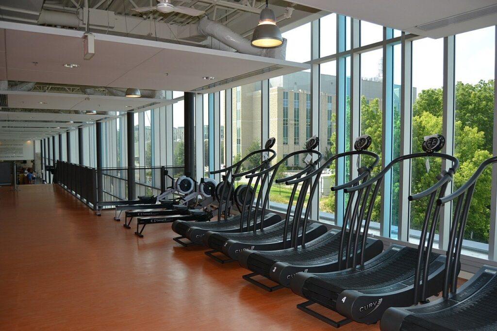 gym, exercise equipment, treamills